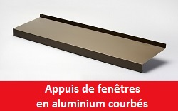 Appuis de fen tres en aluminium courb s nez 40 mm appui de for Appui de fenetre en alu