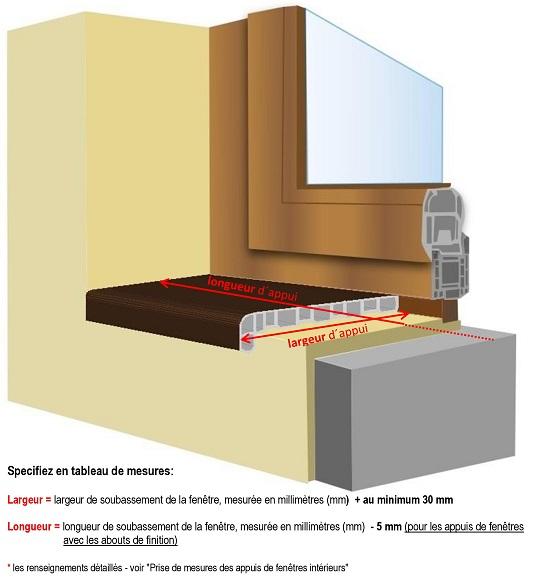 Prise de mesures des appuis de fen tres int rieurs appui for Appuis de fenetre en zinc
